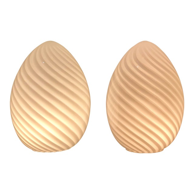 "Beautiful Pair of White Swirl Murano Glass ""Egg"" Table Lanterns. Vetri Italy, C. 1980s For Sale"