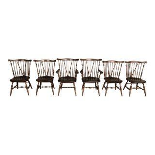 Ethan Allen Antiqued Tavern Pine Windsor Brace Back Dining Chairs - Set of 6 For Sale