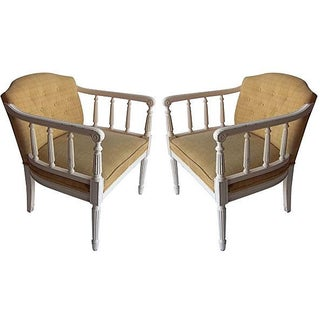 Mid Century-Modern Column Armchairs - A Pair For Sale
