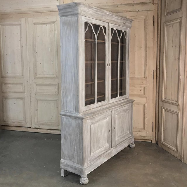 French 19th Century French Louis Philippe Period Whitewashed Bookcase For Sale - Image 3 of 13
