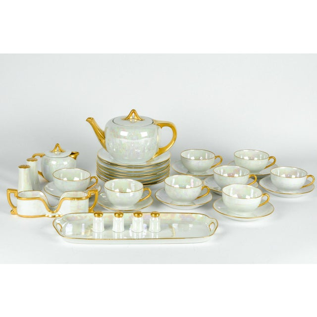Traditional 1900s German Vintage Lusterware Luncheon Set - Set of 31 For Sale - Image 3 of 8