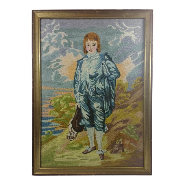 Vintage Blue Boy by the Sea Framed Embroidery - Image 1 of 9