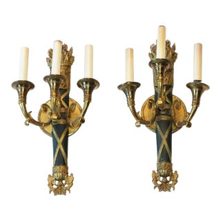 Original 1931 French Torch Sconces From Waldorf Astoria New York City - a Pair For Sale