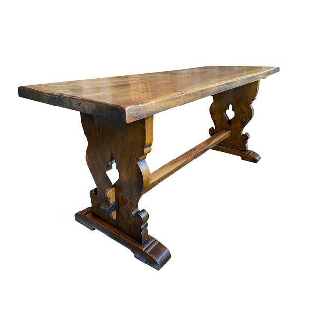 19th Century Northern Italian 19th Century Walnut Trestle Table For Sale - Image 5 of 11