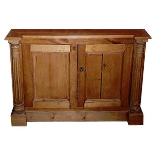 19th Century English Pinewood Two Door Buffet With One Inner Shelf. For Sale