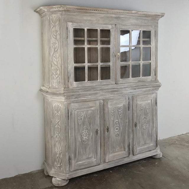 19th century Country French Rustic Whitewashed Bookcase ~ Cabinet can store and display copious amounts of books,...