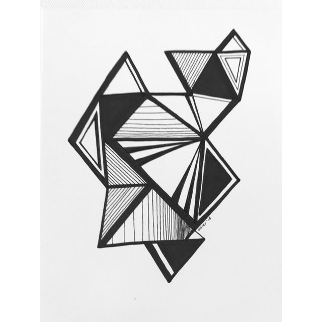 """2010s Original Pen & Ink Drawing """"Variations on a Triangle"""" For Sale - Image 5 of 6"""