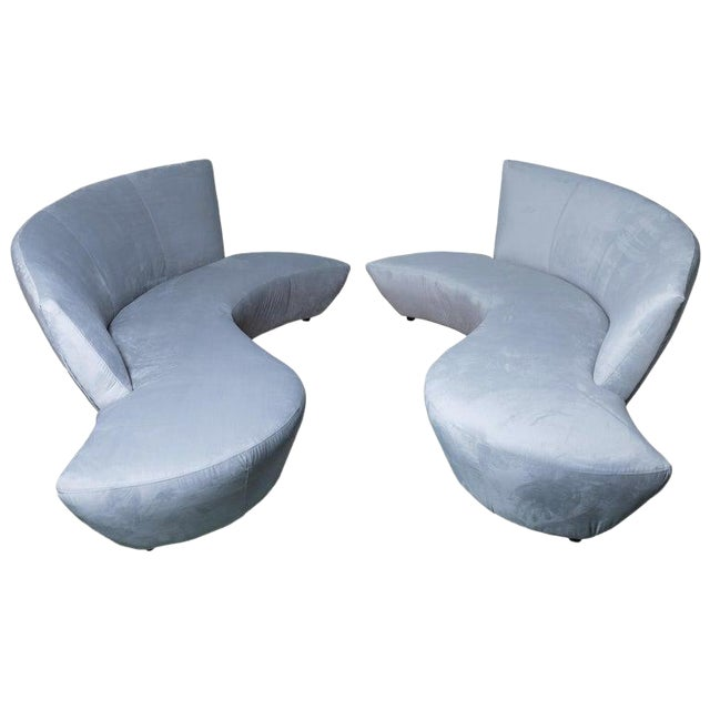 Late 20th Century Vladimir Kagan Bilbao Serpentine Sofas- a Pair For Sale