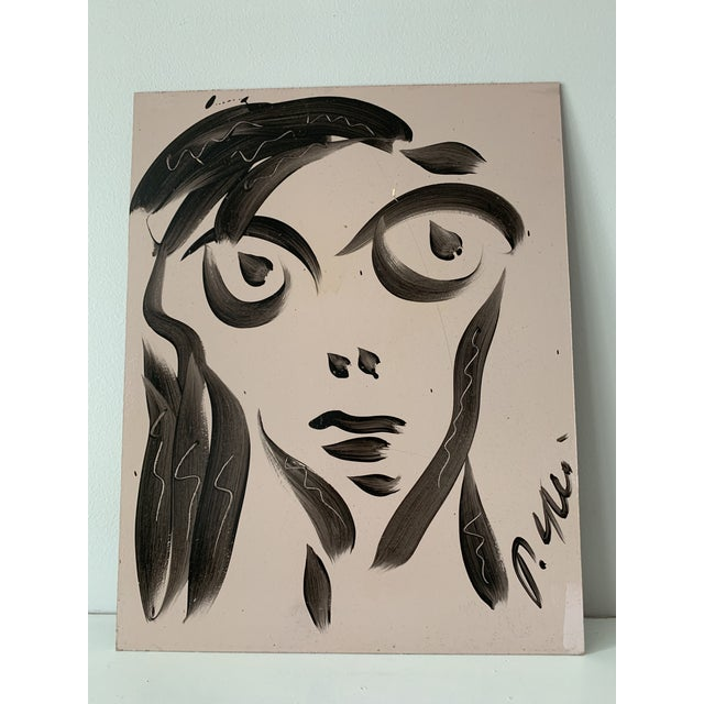 Vintage Mid-Century Signed Peter Keil Acrylic Abstract Portrait Painting For Sale In Columbus - Image 6 of 8