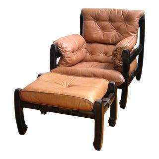 1970s Luciano Frigerio Italian Mahogany Tan Leather Lounge Armchair & Ottoman For Sale