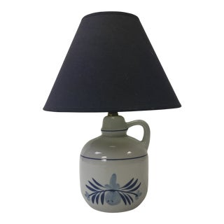 Small Blue and White Pottery Ceramic Painted Table Lamp For Sale