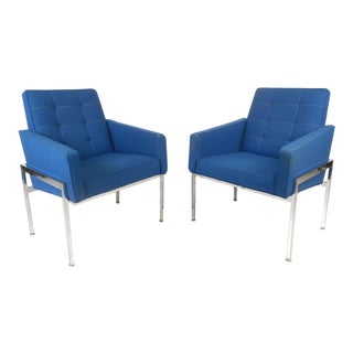Mid-Century Modern Chrome Frame Tufted Lounge Chairs - A Pair