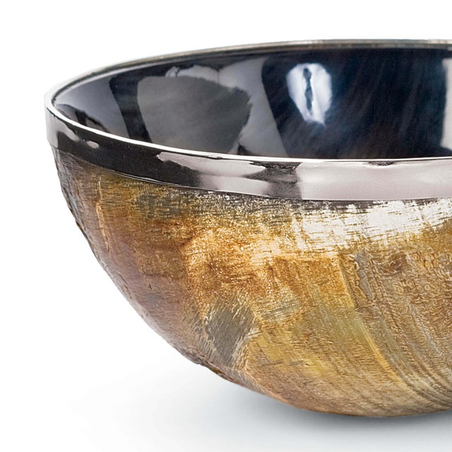 Traditional Polished Horn And Brass Bowl For Sale - Image 3 of 5