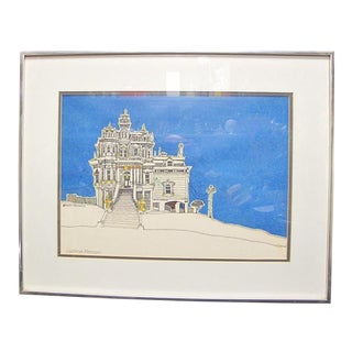 "1973 Framed Original ""California Mansion"" Signed Print by Woody Hansen"