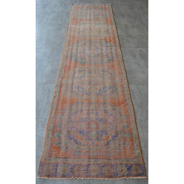 """Faded Colors Runner Low Pile Distressed Oushak Rug Runner - 2'11"""" X 11'10"""" For Sale - Image 4 of 9"""