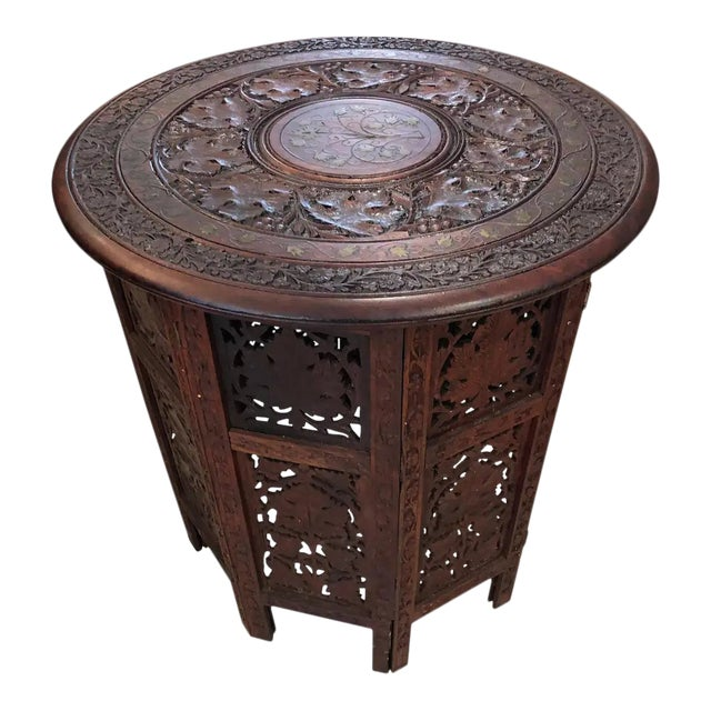 Sized Round Moorish Anglo-Indian End Table For Sale