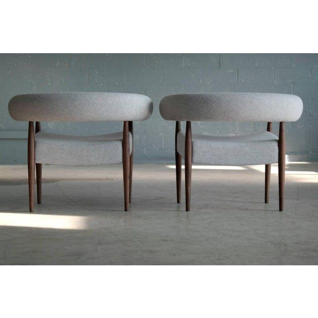 Fabric Pair of Nanna Ditzel Ring Chairs in Walnut and Wool for Getama, Denmark For Sale - Image 7 of 9