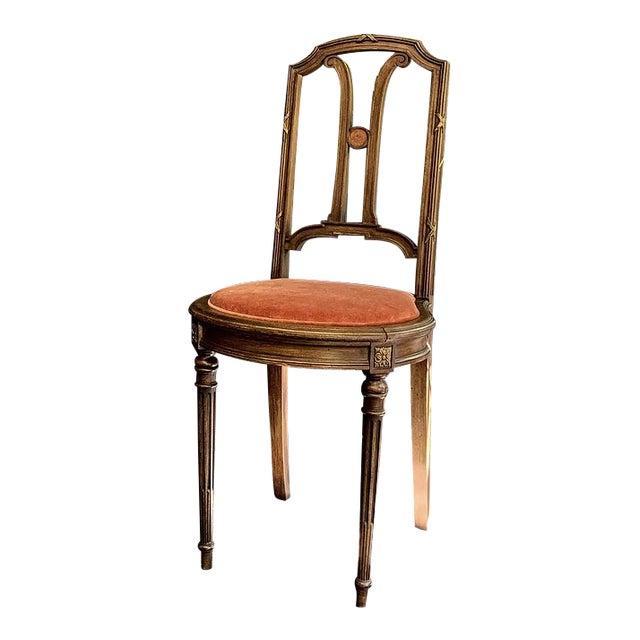 1910s Vintage French Blush Velvet Chair For Sale