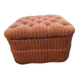 Custom Tufted Cocktail Ottoman With Wheels For Sale