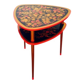 Mid Century Russian Lacquered Side Table