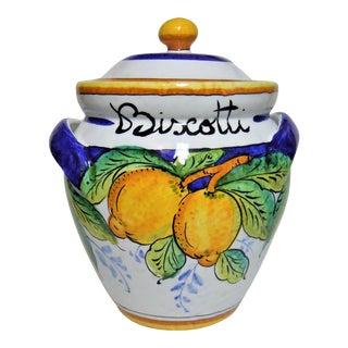Italian Biscotti Ceramic Jar For Sale