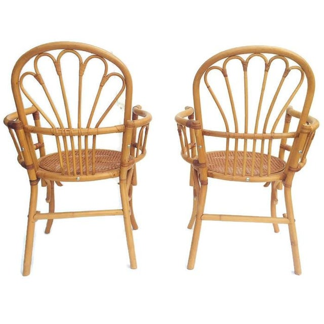 1980s Vintage Bent Bamboo Arm Chairs - a Pair For Sale - Image 11 of 13