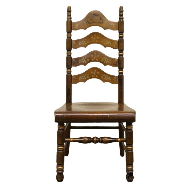 20th Century Traditional Ethan Allen Old Tavern Pine Ladder Back Dining Chair For Sale