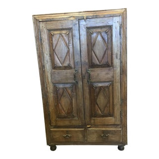 Rustic Antique Indian Teak Armoire Cabinet Kitchen Wine Chest For Sale