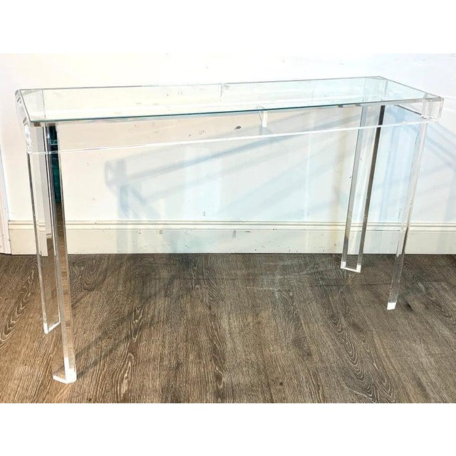 Modern Sleek Modern Lucite and Glass Console For Sale - Image 3 of 11