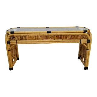 Vintage Hollywood Regency Tropical Pencil Reed Rattan Console Table For Sale