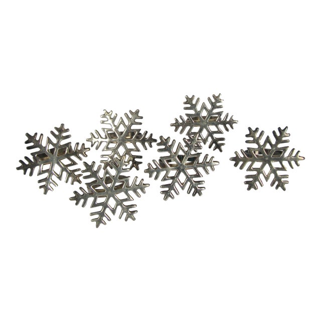 Silverplate Snowflake Napkin Rings - Set of 6 For Sale