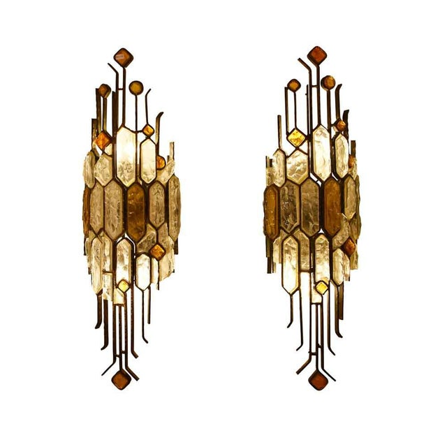 A set of 3 sconces, wrought iron and multicolor glass. Italian design ca.1970s . By Longobard can be sold individually @...