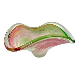 Mid-Century Murano Pastel Swirls Zanfirico Organic Form Bowl For Sale