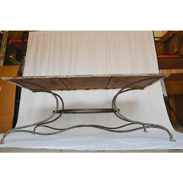Large French Wrought Iron Garden Table From Arras With Rectangular Top For Sale - Image 11 of 13
