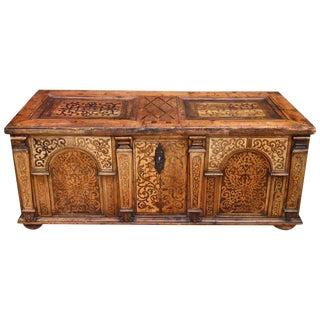 Mid-17th Century Antique European Renaissance Inlaid Chest Desk For Sale