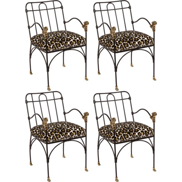 Set of Four Iron and Bronze Dining Chairs After Giacometti For Sale