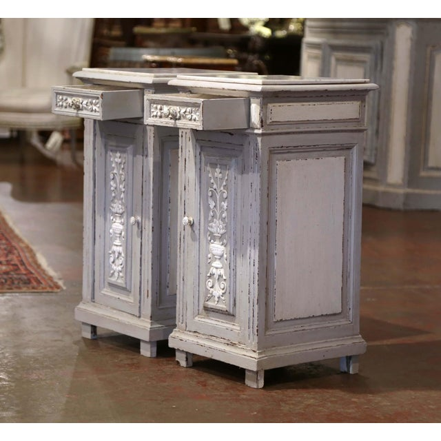 White Pair of 19th Century French Carved Painted Nightstands With Marble Top For Sale - Image 8 of 10