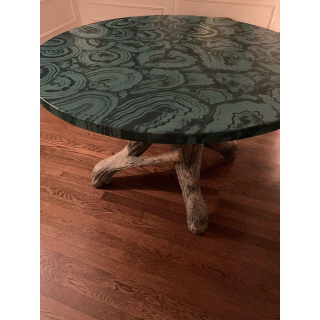 Hollywood Regency Faux Malachite Hand Painted Table Top For Sale - Image 3 of 6