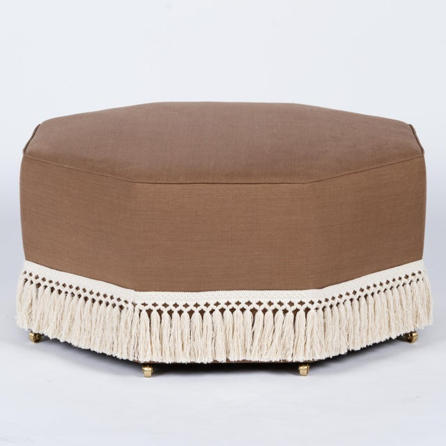 Not Yet Made - Made To Order Casa Cosima Istanbul Cocktail Ottoman in Hazel Linen For Sale - Image 5 of 5