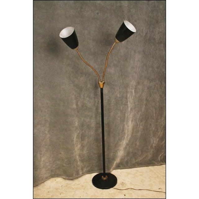 Vintage Floor Lamp. Solid metal construction with double gooseneck adjustable lamps. Mid Century Modernist design. Bullet...