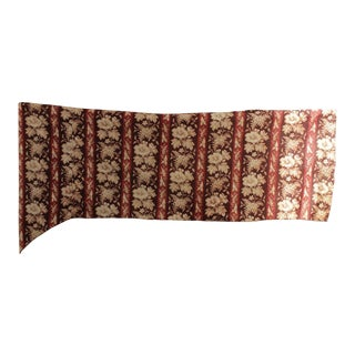 Antique 19th Century French Madder Brown Floral & Stripe Fabric C. 1850 For Sale