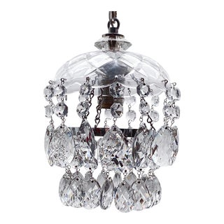 Vintage Layered Chandelier With Cut Glass Dish For Sale