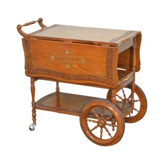 Indian Teak Wood Brass Marquetry Inlaid Serving Tea Cart