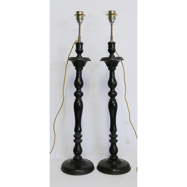 18th Century Antique French Lamps Made From Wooden Candlesticks For Sale - Image 5 of 5