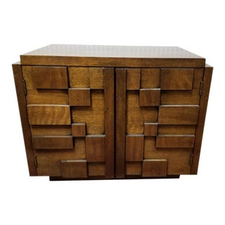 Mid Century Modern Paul Evans Inspired Brutalist Mosaic 2 Door Side Chest/Nightstand From Lane For Sale