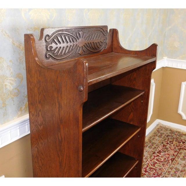 Antique 1920's Art-Nouveau Oak Bookcase - Image 6 of 7