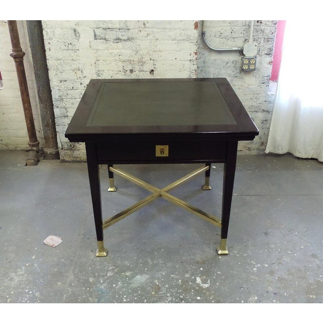 An unusual Austrian Secessionist period card table with four synchronized mechanical corner trays and one push-pull...