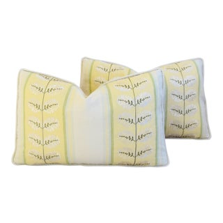 Cowtan & Tout Embroidered & Pierre Frey Velvet Feather/Down Pillows - Pair For Sale