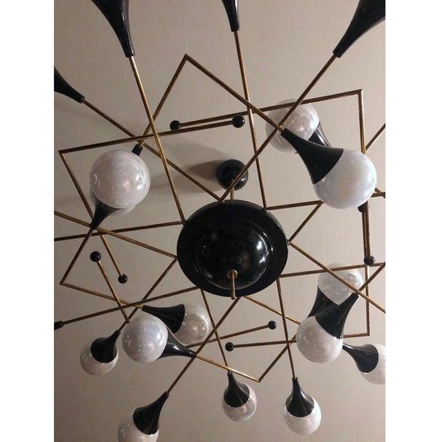 Bespoke Italian Geometric White Glass Black Lacquered Brass 24-Light Flushmount For Sale - Image 4 of 9