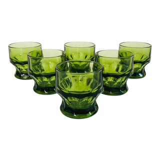 Mid Century Georgian Green Whiskey Glasses - Set of 6 For Sale